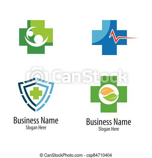 Medical cross logo vector icon - csp84710404