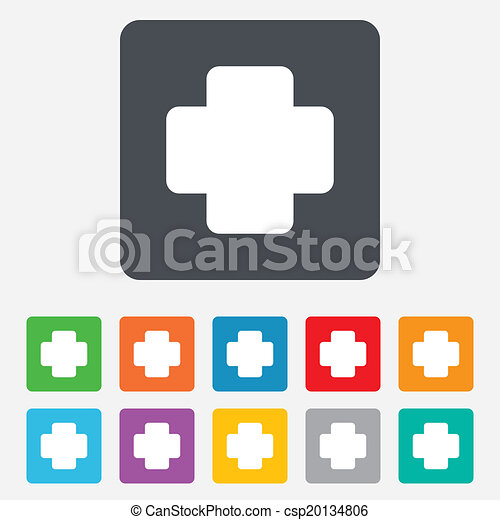Medical Cross Sign Icon Diagnostics Symbol Rounded Squares 11