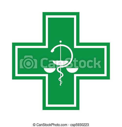 Medical cross - symbol with snake - illustration - csp5930223