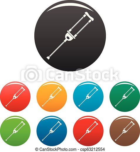 Medical crutch icons set color - csp63212554