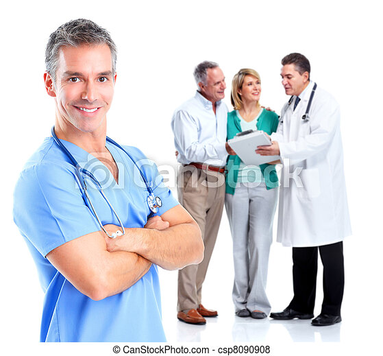Medical doctor and elderly couple patient. - csp8090908