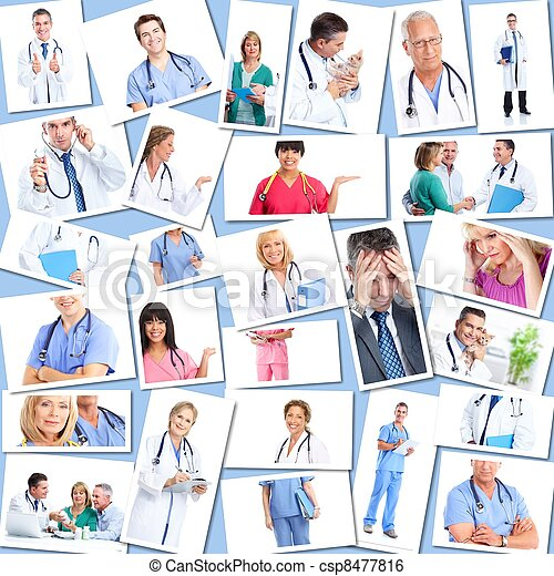 Medical doctors group Collage. - csp8477816