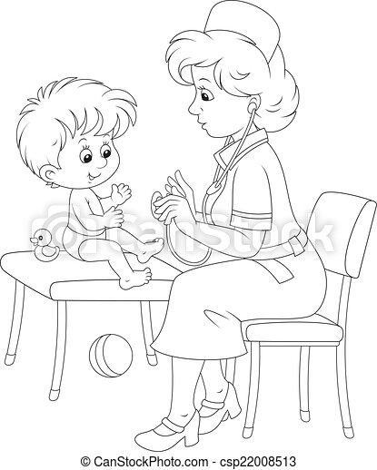 Medical examination. Pediatrician examines a little child ...