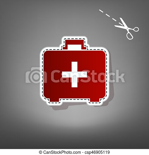 Medical First aid box sign. Vector. Red icon with for applique from paper with shadow on gray background with scissors. - csp46905119