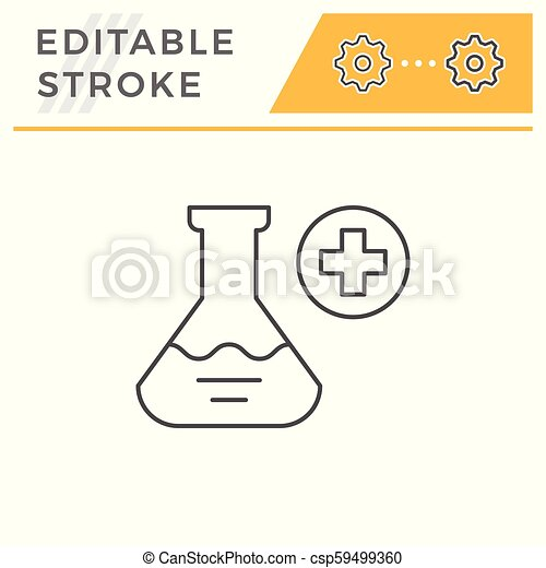 Medical flask line icon - csp59499360