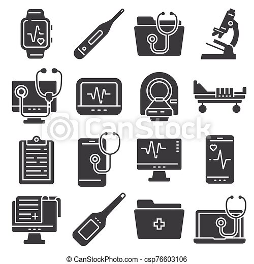 Medical flat icons set on white background - csp76603106