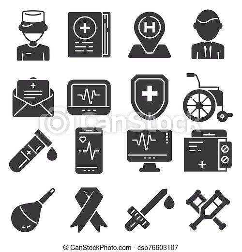 Medical flat icons set on white background - csp76603107