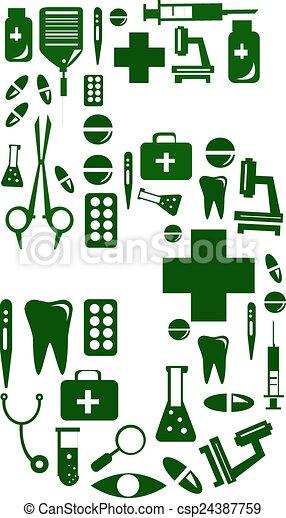 Medical font. alphabet made of medical pills. number 5 - csp24387759