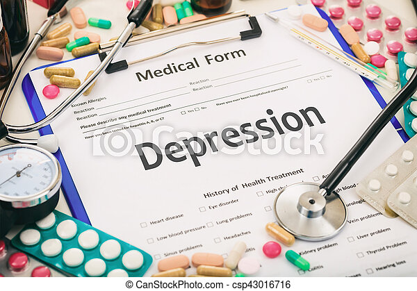 Medical form on a table, diagnosis depression