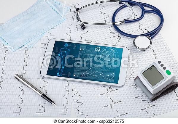 Medical full body screening software on tablet - csp63212575