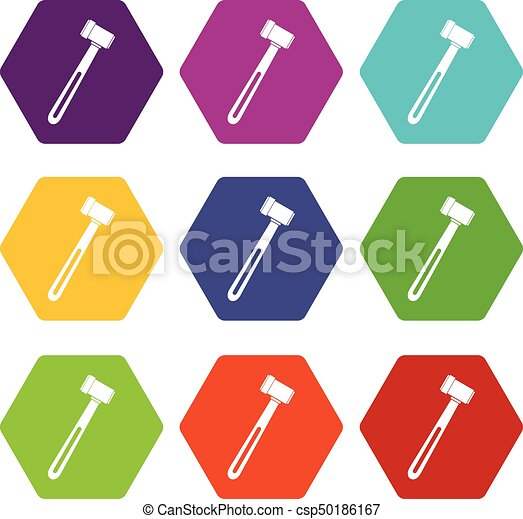 medical hammer icon set color hexahedron medical hammer clip art rh canstockphoto com medical vector eps medical vector free