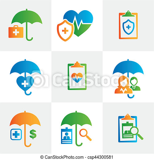 Medical Healthcare Insurance Icons With People Figures And Heart