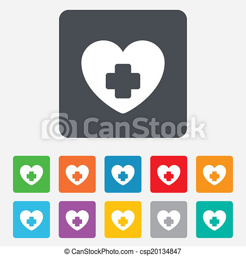 Medical Heart Sign Icon Cross Symbol Rounded Squares 11 Buttons