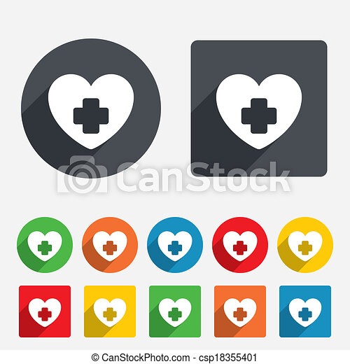 Medical Heart Sign Icon Cross Symbol Circles And Rounded Squares