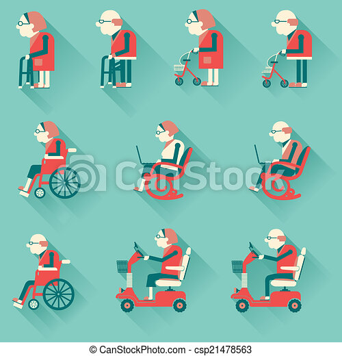 Medical hospital disabled equipments. Vector icons - csp21478563