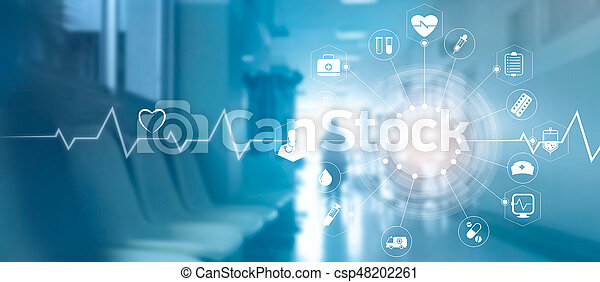Medical icon network connection with modern virtual screen interface on hospital background, medicine technology network concept - csp48202261
