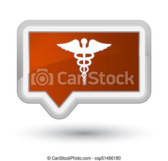 Medical icon prime brown banner button - csp51466180