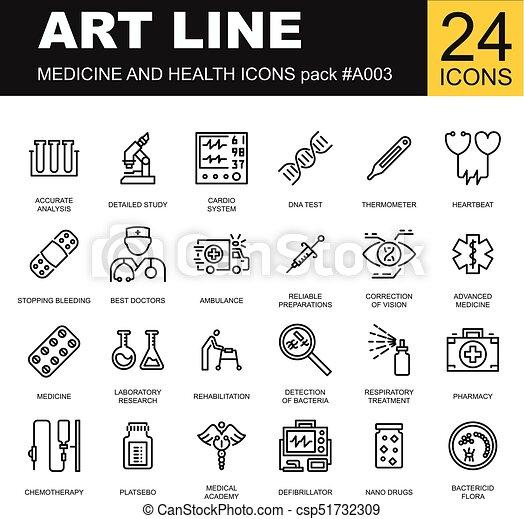 Medical Icons On White Background Medicine Symbols In Black Vector