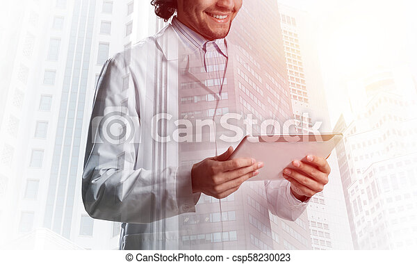 Medical industry concept by means of successful doctor - csp58230023