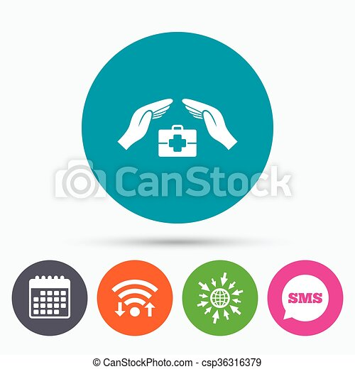 Medical Insurance Sign Health Insurance Symbol Wifi Sms And
