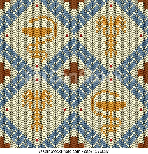 Medical knitted woolen pattern with the Bowl of Hygieia and winged Caduceus in bright colors - csp71576037