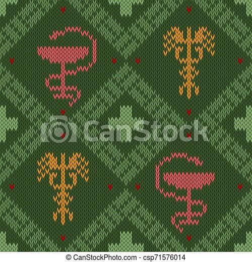 Medical knitted woolen pattern with the Bowl of Hygieia and winged Caduceus - csp71576014
