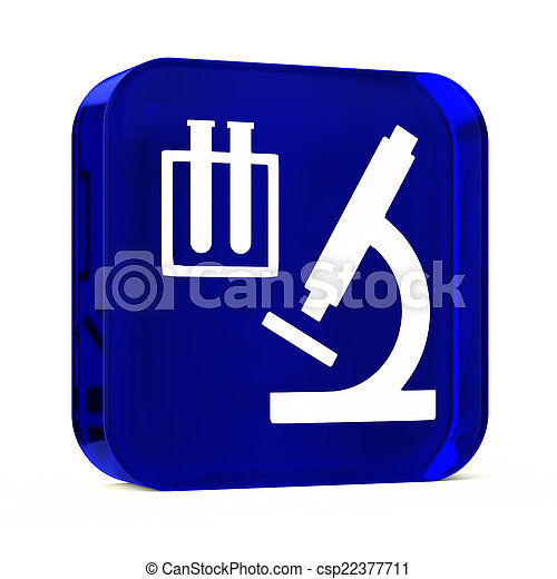 Medical Laboratory Glass Button Icon With White Health Care