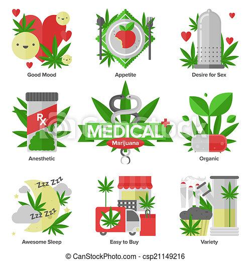 Medical marijuana flat icons set - csp21149216