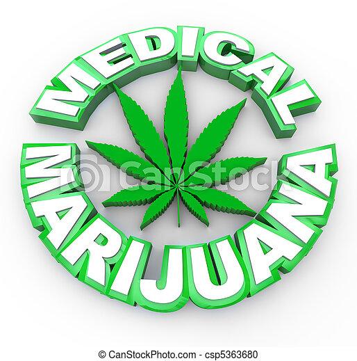 Medical Marijuana - Words and Leaf Icon - csp5363680