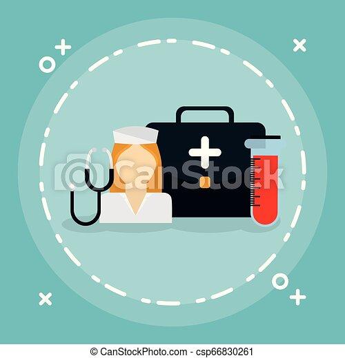 medical nurse with medical kit - csp66830261