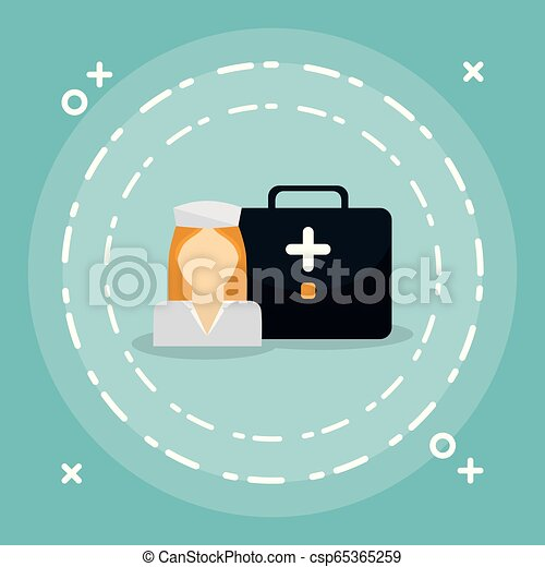 medical nurse with medical kit - csp65365259