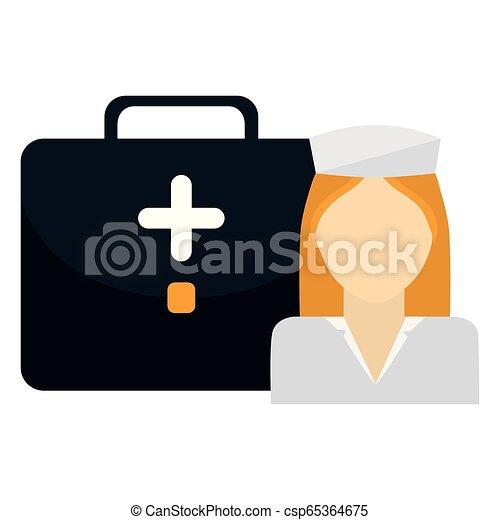 medical nurse with medical kit - csp65364675