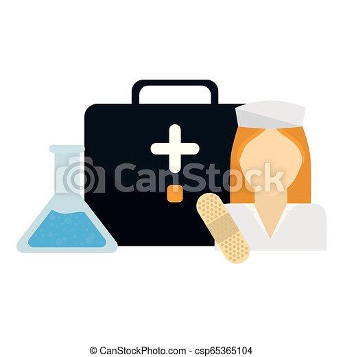 medical nurse with medical kit - csp65365104