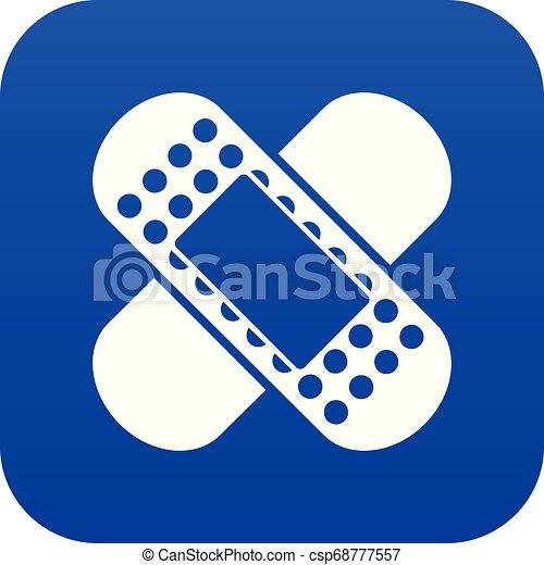 Medical patch icon digital blue - csp68777557