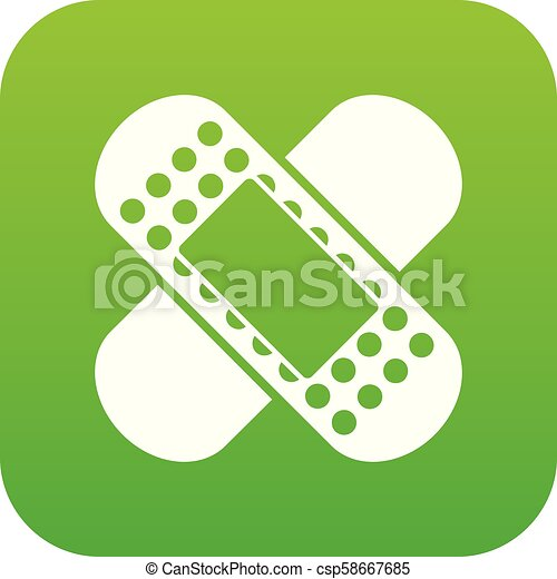 Medical patch icon digital green - csp58667685
