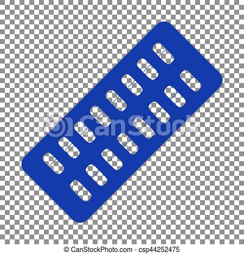 Medical Pills sign. Blue icon on transparent background. - csp44252475
