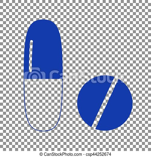 Medical pills sign. Blue icon on transparent background. - csp44252674