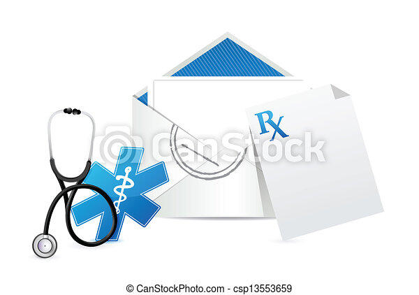 Medical Prescription Envelope Letter Illustration Design Over A