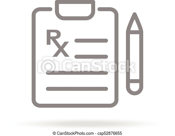 Medical Prescription Icon In Trendy Thin Line Style Isolated On White Background. Medical Symbol For Your Design, Apps, Logo, UI. Vector Illustration. - csp52876655