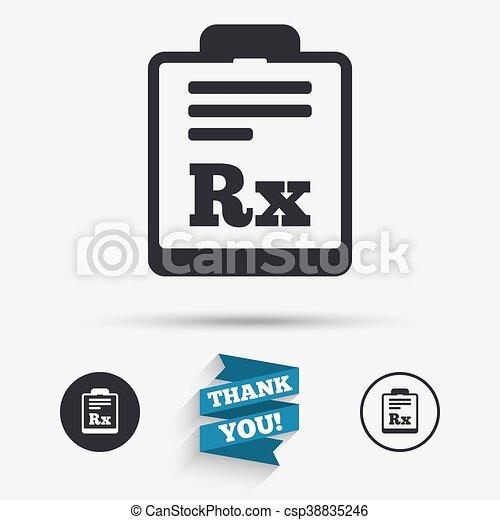 Medical Prescription Rx Sign Icon Pharmacy Medical Prescription Rx
