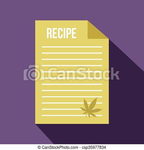 Medical recipe with hemp leaf icon, flat style - csp35977834