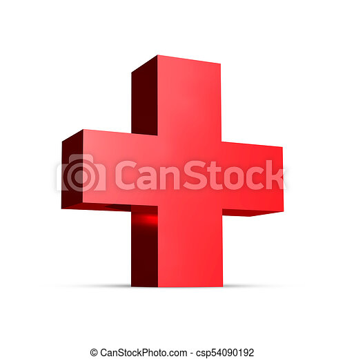 medical red cross 3d rendering plus sign medical red