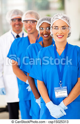 medical researchers team in lab - csp15025313