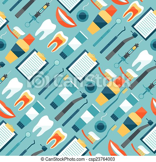 Medical Seamless Pattern With Dental Equipment Icons Vector