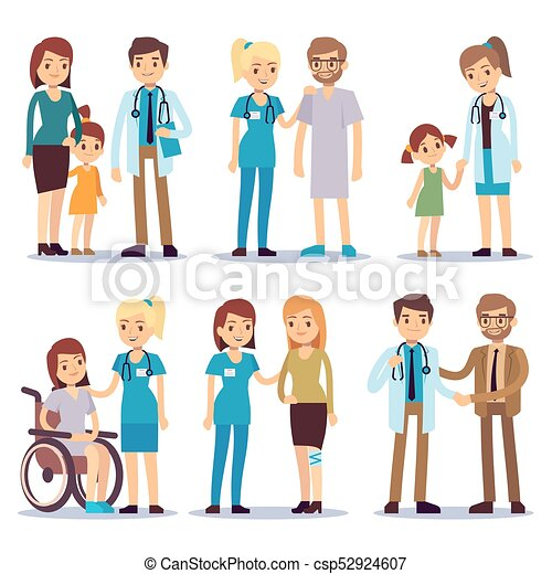 Medical Staff With Patients Nurses And Doctors Sick Person Vector Cartoon Characters Set