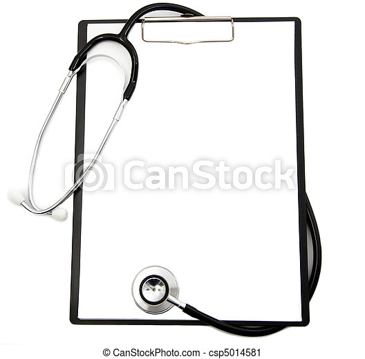 Medical stethoscope and blank clipboard - csp5014581