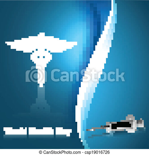 medical symbol caduceus reflection world health day blue colorful background vector - csp19016726