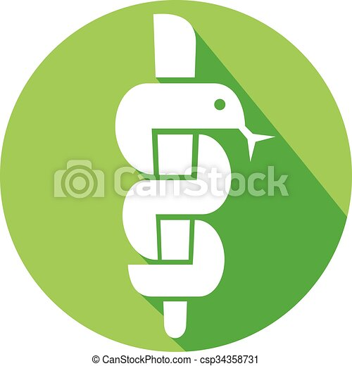 medical symbol caduceus snake - csp34358731