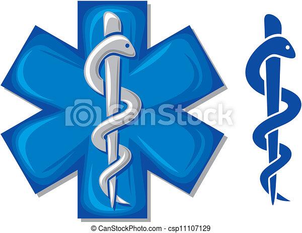 medical symbol caduceus snake - csp11107129