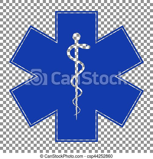 Medical symbol of the Emergency or Star of Life. Blue icon on tr - csp44252860